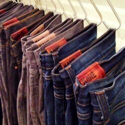 Hang jeans from s-shaped hooks to save money on hangers and free up space.